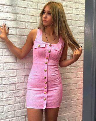 ροζ φόρεμα με κουμπιά