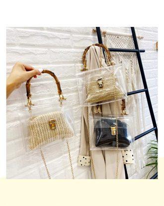 bamboo mini bag transparent pvc